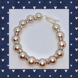 Smoke Pearl and Iridescent Rondelle Bracelet